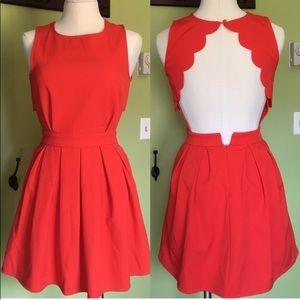 Red scalloped open back dress